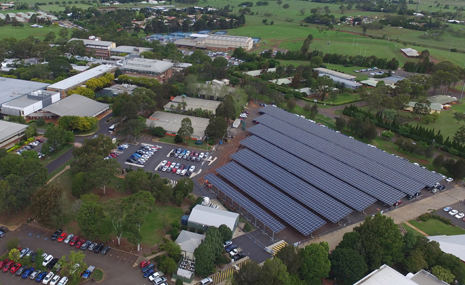 Solar panels powering the University of Southern Queensland